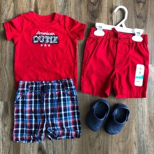Boys 12 month American cutie out and shoes crocs 3